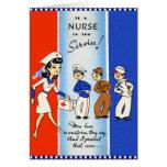 Enfermera del vintage en la tarjeta del servicio