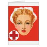 Enfermera del vintage felicitacion