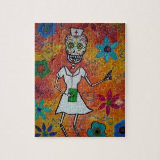 Enfermera Dia de Los Muertos Puzzle