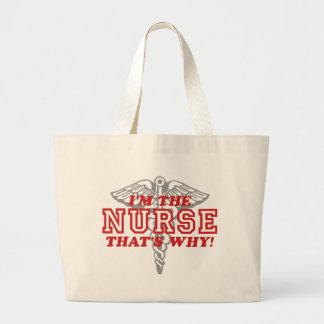 Enfermera divertida bolsa tela grande