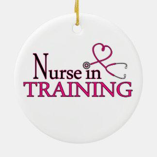 Enfermera en el entrenamiento - rosa adorno redondo de cerámica