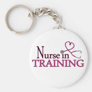Enfermera en el entrenamiento - rosa llavero redondo tipo pin