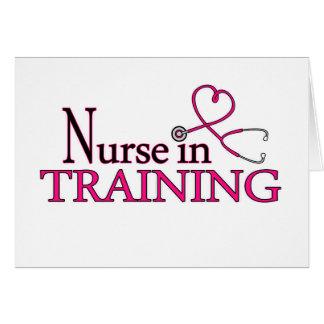 Enfermera en el entrenamiento - rosa tarjeta de felicitación