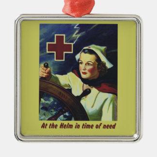 Enfermera en el timón adorno cuadrado plateado