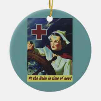 Enfermera en el timón adorno redondo de cerámica