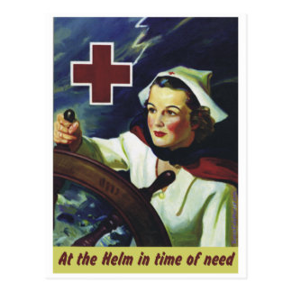 Enfermera en el timón tarjeta postal