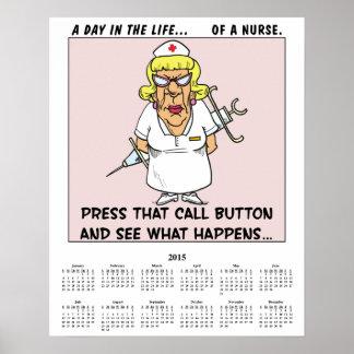 Enfermera enojada de 2015 calendarios póster