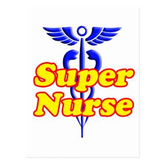 Enfermera estupenda con el caduceo tarjeta postal