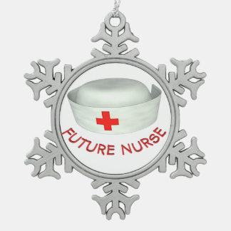 Enfermera futura adorno de peltre en forma de copo de nieve