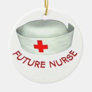 Enfermera futura adorno navideño redondo de cerámica