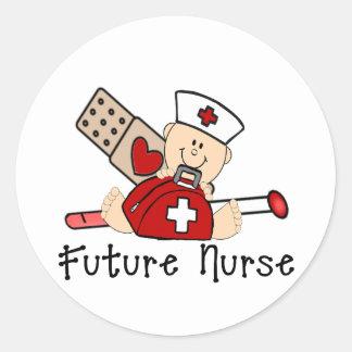 Enfermera futura pegatina redonda