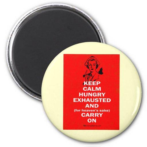 Enfermera - guarde la calma y continúe imanes de nevera