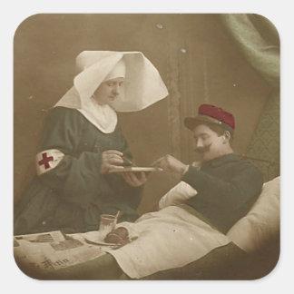 Enfermera herida WWI del soldado y del francés Colcomanias Cuadradases