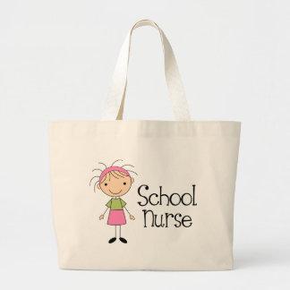 Enfermera linda de la escuela bolsa tela grande