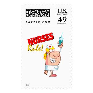 enfermera linda del dibujo animado de la regla de sellos