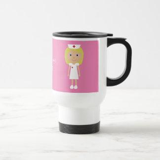 Enfermera linda del dibujo animado personalizada taza de viaje de acero inoxidable