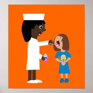 Enfermera linda del dibujo animado que da el poste poster