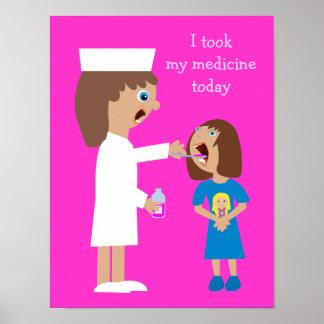 Enfermera linda del dibujo animado que da la medic póster