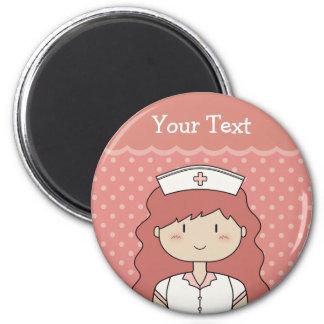 Enfermera linda del dibujo animado (redhead) imán de nevera