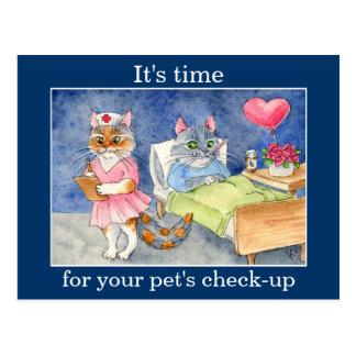 Enfermera linda del gato, recordatorio veterinario postales