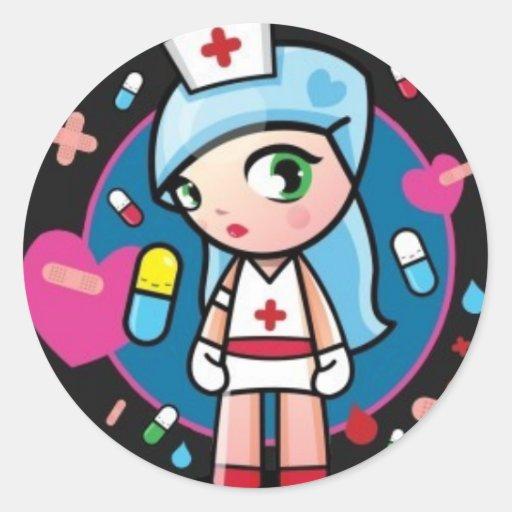 Enfermera Lolita Pegatina Redonda