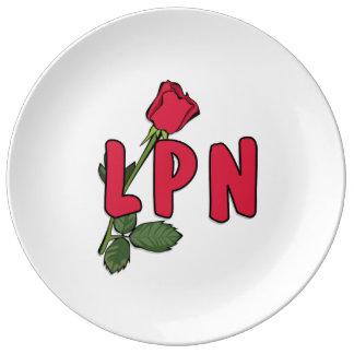 Enfermera LPN subió Plato De Cerámica