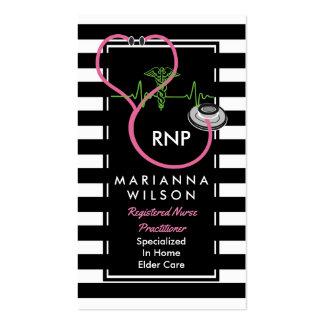 Enfermera moderna de las rayas de BW que cuida Tarjetas De Visita