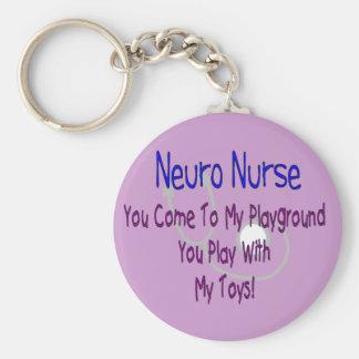 """Enfermera neura """"mi patio, mis juguetes """" llavero redondo tipo pin"""