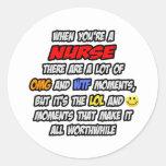 Enfermera. OMG WTF LOL Etiqueta Redonda