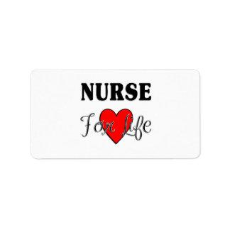 Enfermera para la vida etiquetas de dirección
