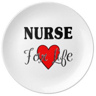 Enfermera para la vida plato de cerámica