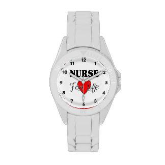 Enfermera para la vida relojes de pulsera