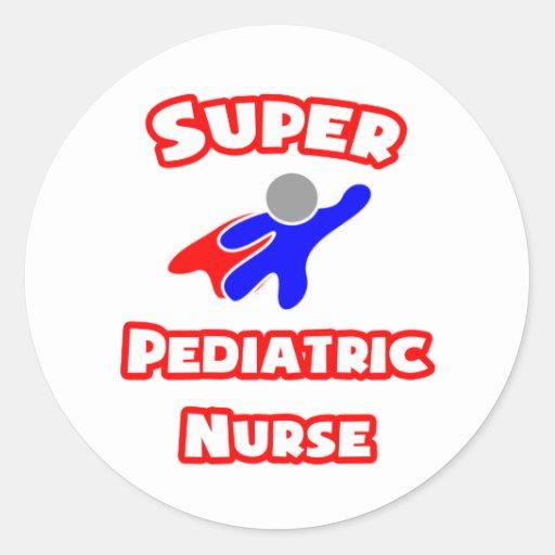 Enfermera pediátrica estupenda pegatina redonda