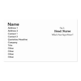 Enfermera principal tarjetas de visita