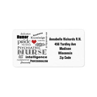 Enfermera psiquiátrica+Personalice el nombre/la di Etiqueta De Dirección