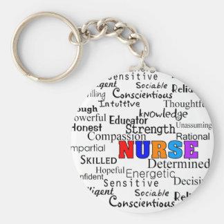 Enfermera que describe los regalos de las palabras llavero redondo tipo pin