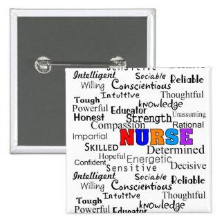 Enfermera que describe los regalos de las palabras pin cuadrada 5 cm