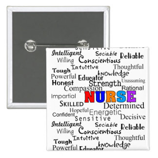 Enfermera que describe los regalos de las palabras pin cuadrado