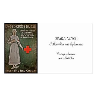 Enfermera que pide las donaciones WWI Tarjetas De Visita