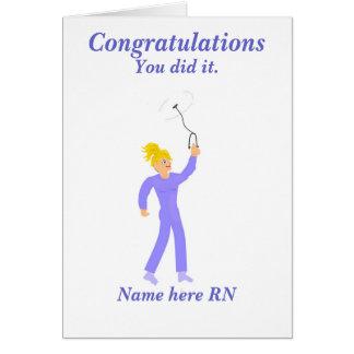Enfermera registradoa de la graduación de la tarjeta de felicitación