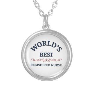 Enfermera registradoa del mejor del mundo collar plateado