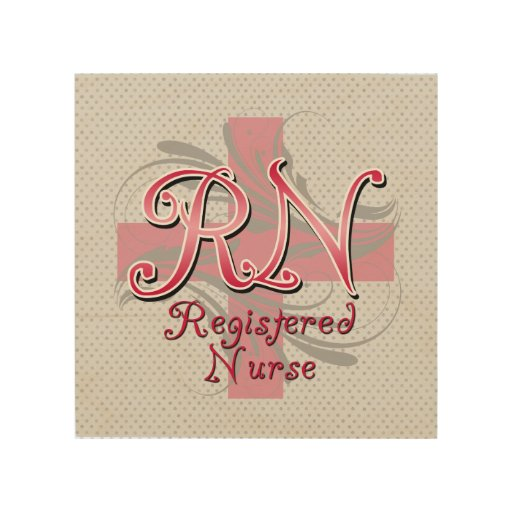 Enfermera registradoa del RN, remolinos rosados de Cuadro De Madera