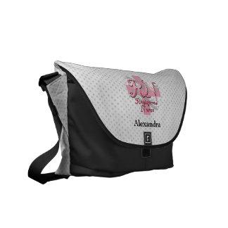 Enfermera registradoa, remolinos rosados de la bolsa de mensajería