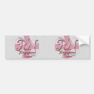 Enfermera registradoa, remolinos rosados de la cru etiqueta de parachoque