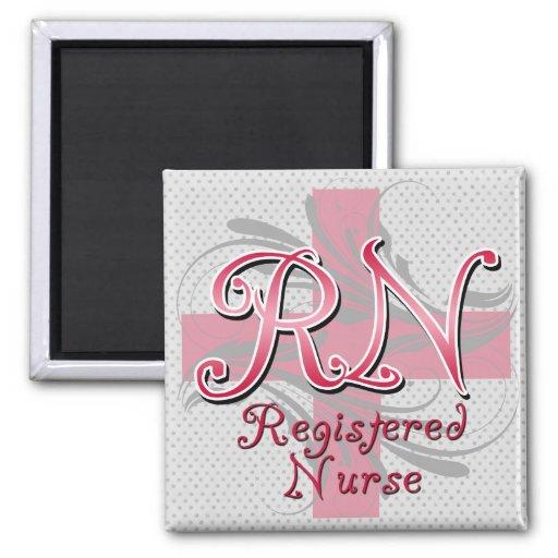 Enfermera registradoa, remolinos rosados de la cru imanes