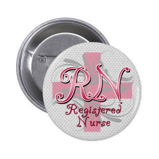 Enfermera registradoa, remolinos rosados de la cru pin redondo 5 cm