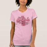 Enfermera registradoa, remolinos rosados de la cru camisetas