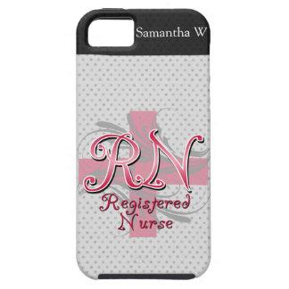 Enfermera registradoa, remolinos rosados de la iPhone 5 protector