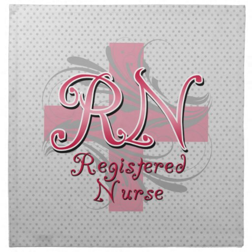 Enfermera registradoa, remolinos rosados de la servilleta imprimida