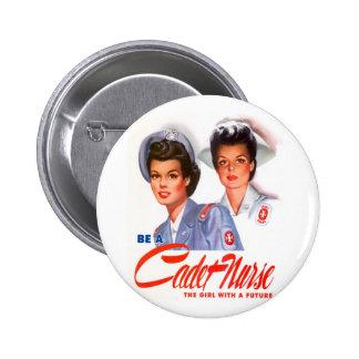 Enfermera retra del cadete del kitsch WW2 del vint Pin Redondo De 2 Pulgadas